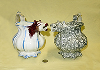 2 19c Victorian pitchers with cow (or fox) head