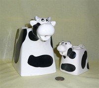 Square bodied cow pitcher and creamer made in Taiwan