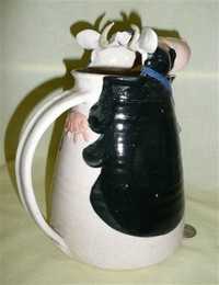 Large mouthed hand made cow pitcher, back