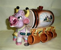Japanese caricature bull decanter and cups