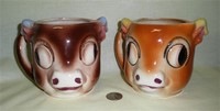 2 Japanese cowvhead caricature pitchers