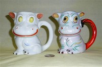 2 Japanese cow caricature pitchers