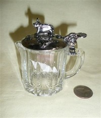 pressed glass creamer with metal lid with cow