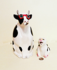 Cow pitcher and creamer with sunglasses