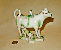 Green & White Whieldon cow creamer, side