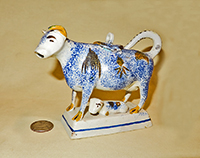 Sponged blue cow creamer with calf