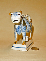 Sponged blue cow creamer with calf, front