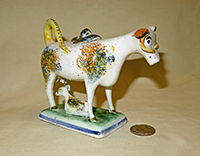 Multicolored sponged cow creamer with long yellow horns