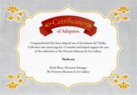 My Certificate of Adoption for Sentorial Bos