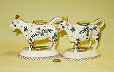 2 Tin glazed kent style cow creamers, side
