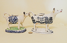 2 Blue Willow teransfer printed cow creamers, right