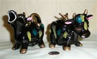 Black Japanese cow creamer and sugar