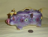 Purple Thames cow conjoined creamer and sugar