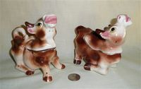 Briwn cow creamer & sugar with S&P heads
