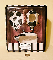 Mug Mates cow creamer, sugar, tidbit tray boxed set