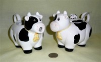 Black and white cow creamer and sugar