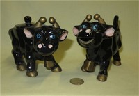 Older black Japanese cow creamer and sugar