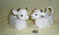 Grey lustre cow creamer & sugar