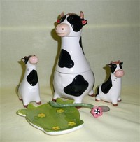 Three-piece cow creamer & sugar with S&P shakers