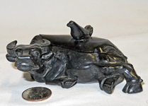 Chinese black stone water pot of reclining water buffalo with bird on lid