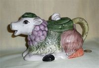 Cow teapot composed of vegetables