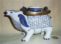Blue and white mythical cow teapot