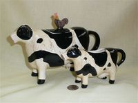 Eliz Brownd black and white cow teapot and creamer by Otagiri