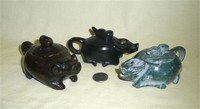 Three smnall stone or jade Chinese water buffalo teapots