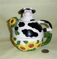 Clay Art tea for one cow teapot & cup