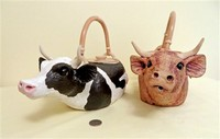 Christy Crews Dunn Jersey and Holstein cow teapots