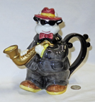 Omnibus Blue Brothers Sax player cow teapots