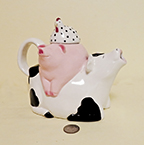 cow-pig-chicken teapot stack by Clay Art