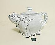 Silver and grey cow teapot
