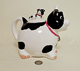 B&W cow with calf on lid teapot